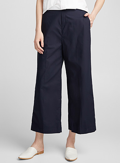 Crisp cotton cropped straight pant
