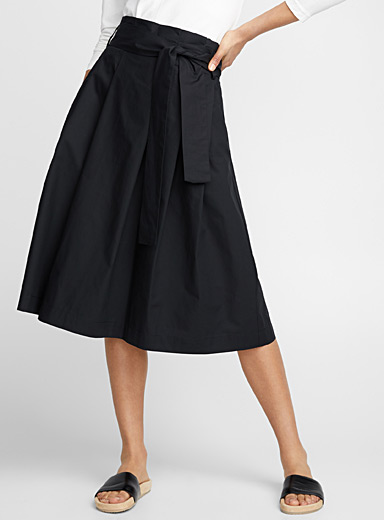 Crispy cotton puffed midi skirt