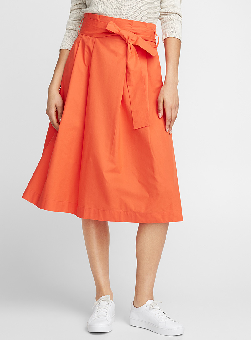 Crispy cotton puffed midi skirt - Midi - Dark Orange