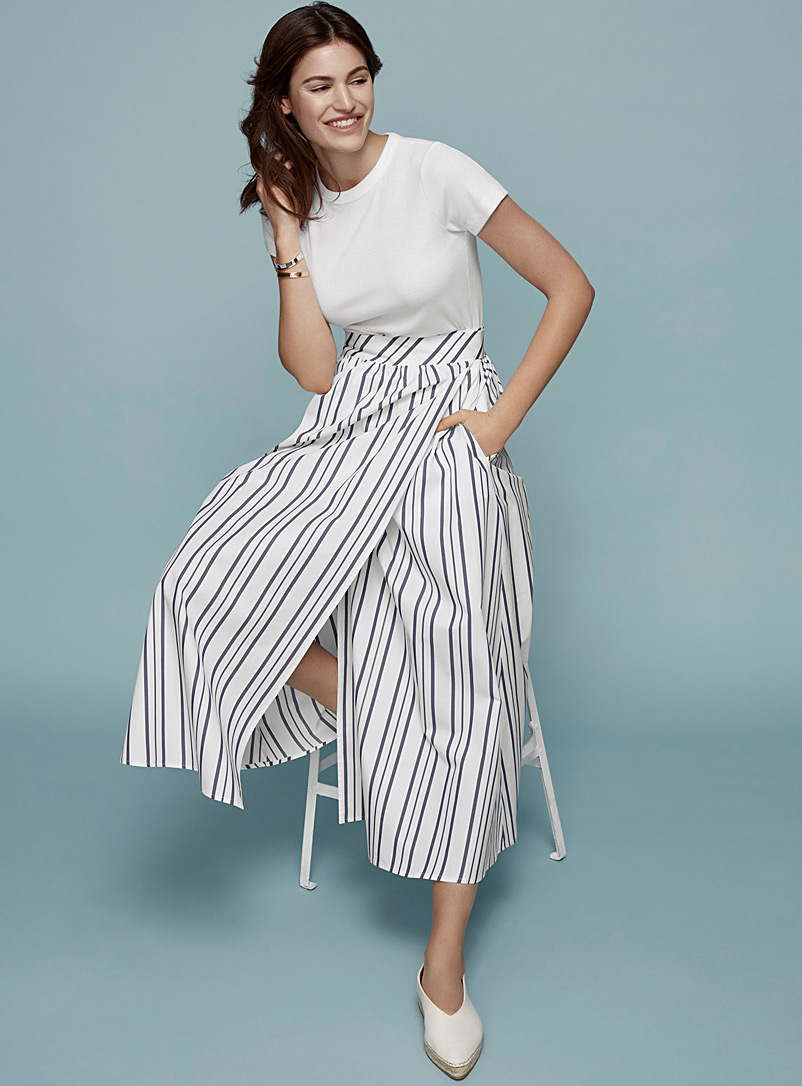 Striped poplin wrap skirt - Midi - Patterned Blue