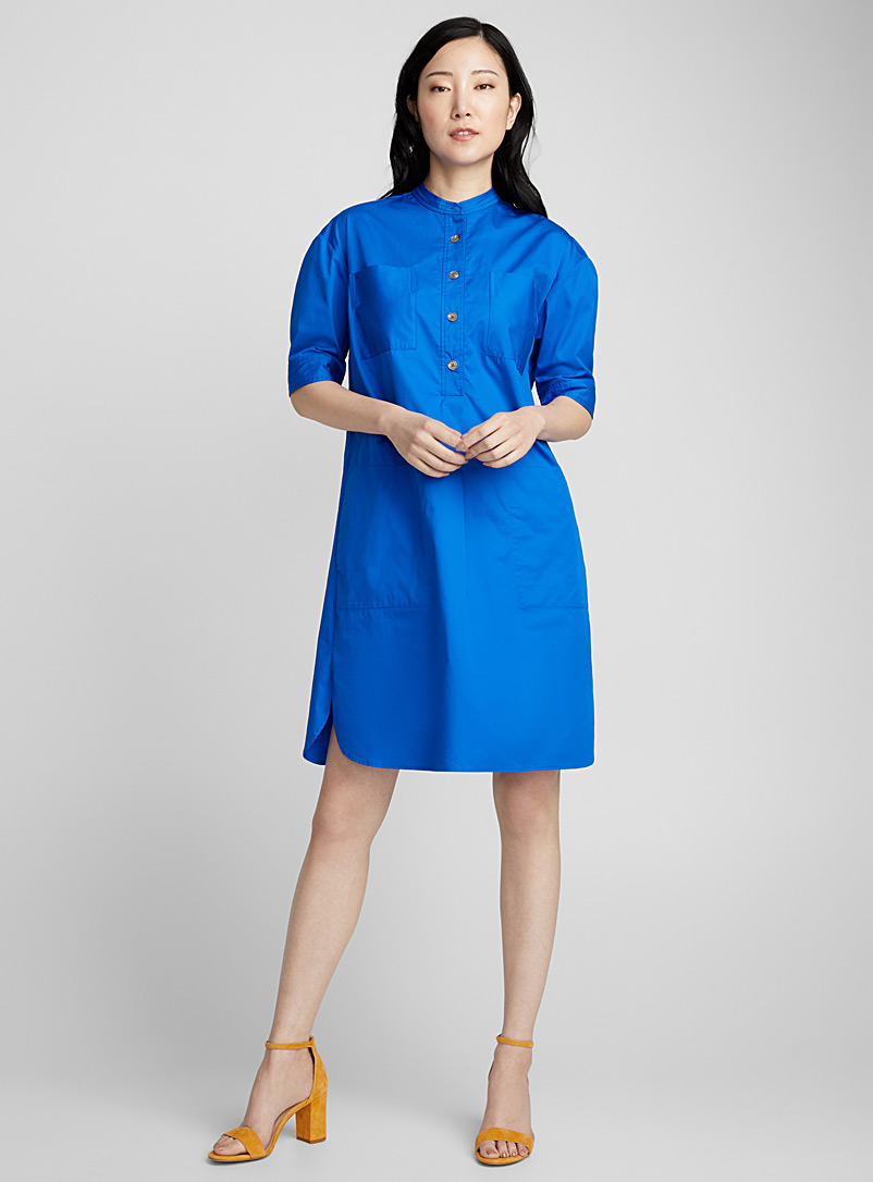 Patch-pocket poplin shirtdress - Straight - Sapphire Blue