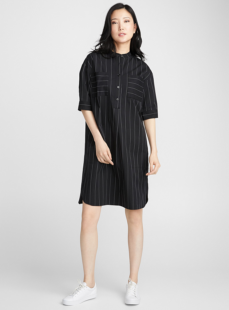 Pocket poplin shirtdress - Straight - Patterned Black