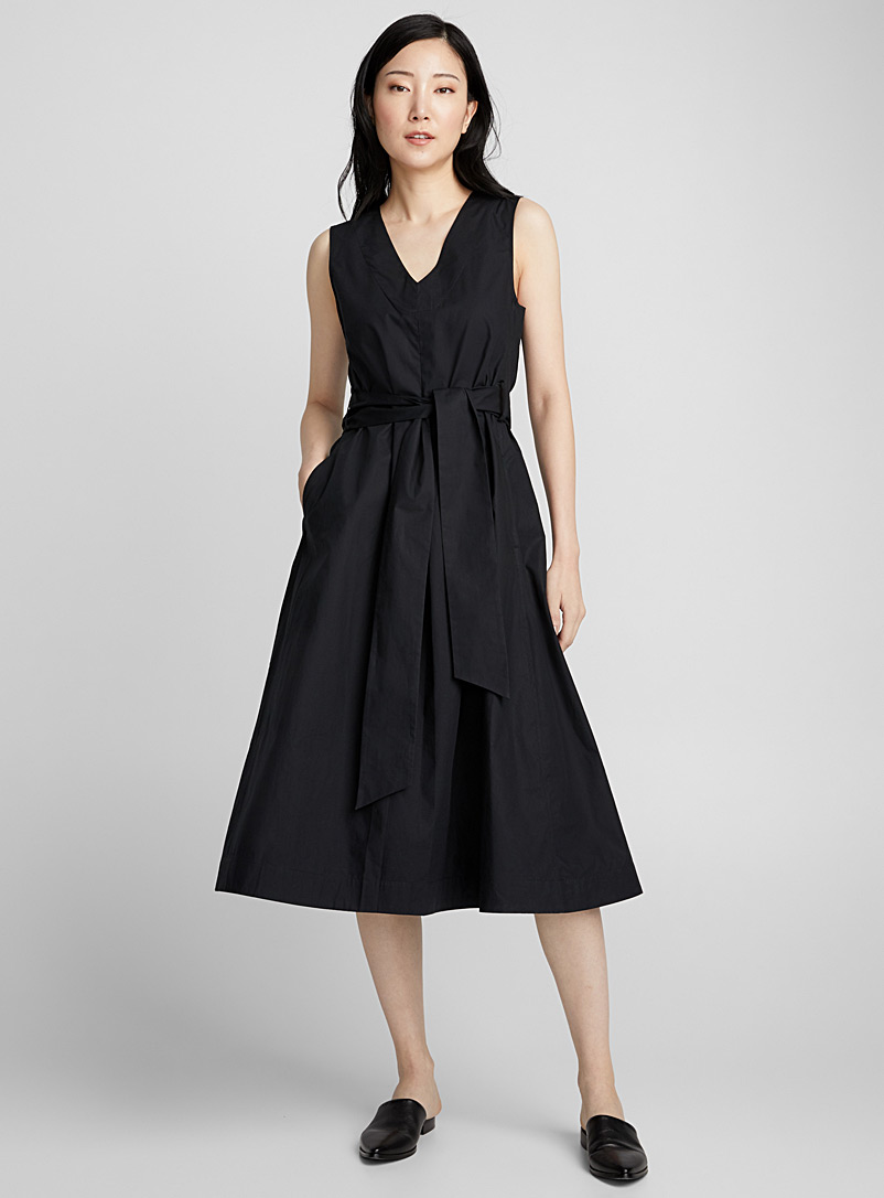 cotton-weave-belted-midi-dress