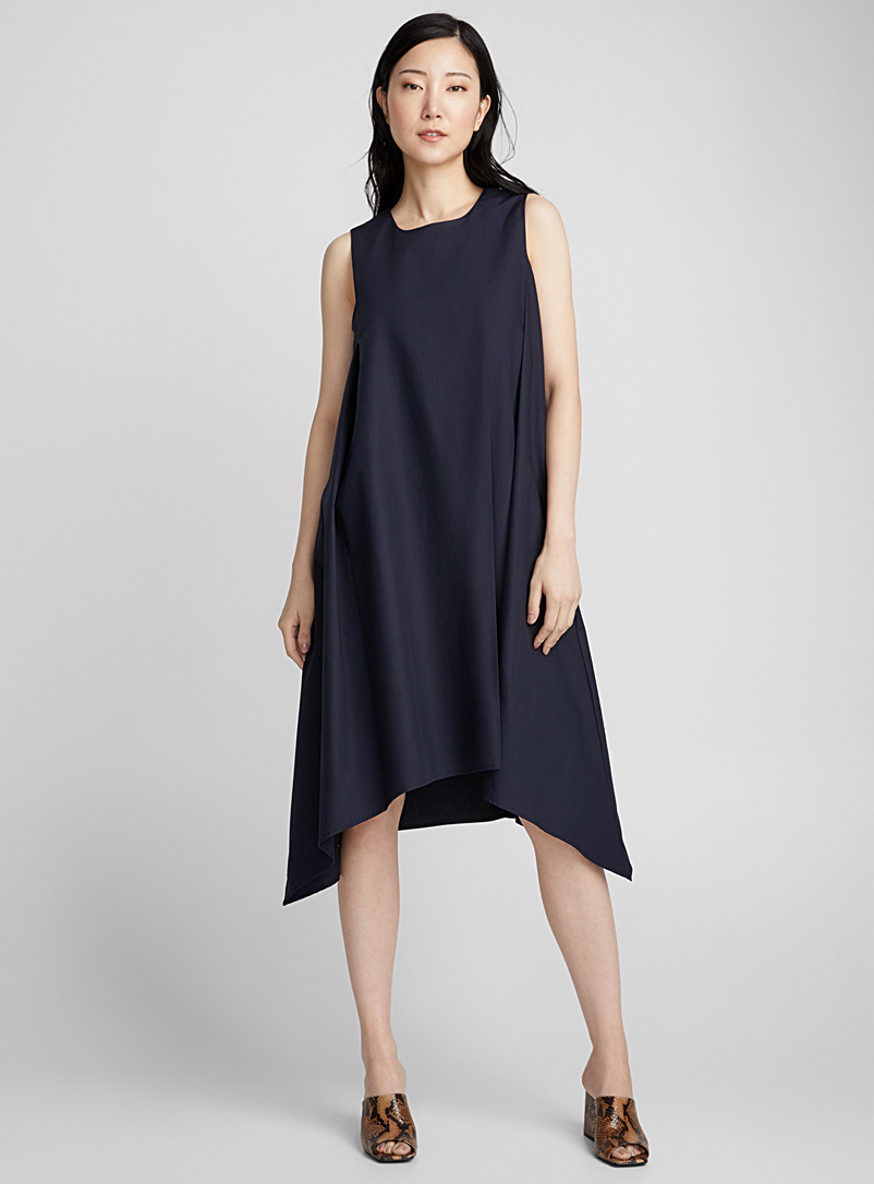 cotton-weave-pleated-flared-dress