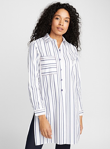 Accent seam striped tunic