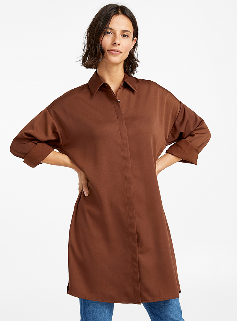 Satiny crepe shirt tunic - Shirts - Dark Brown