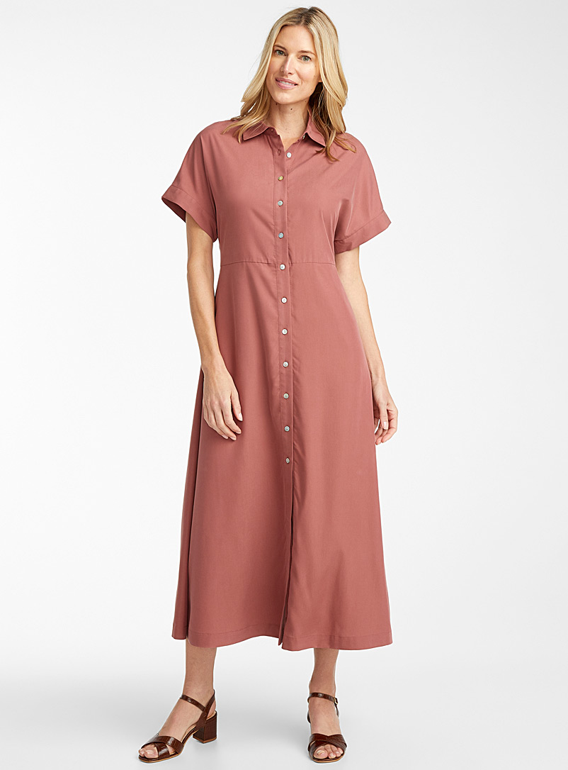 Contemporaine Dusky Pink Fluid maxi shirtdress for women