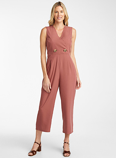 Contemporaine Dusky Pink Fluid two-button jumpsuit for women