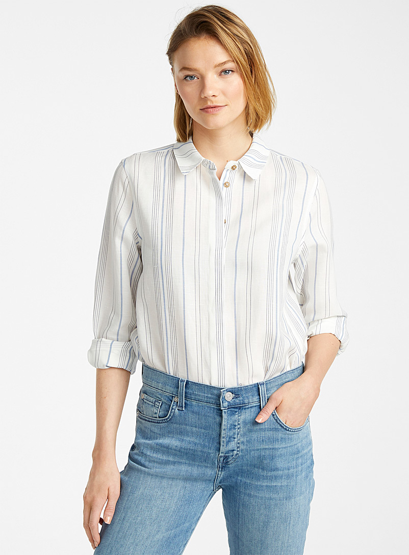 Contemporaine Patterned Blue Loose linen-lyocell shirt for women