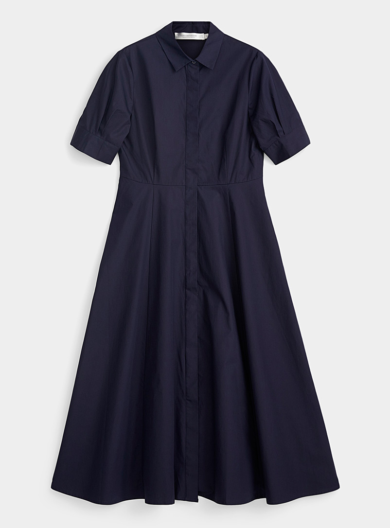 Contemporaine Marine Blue Crisp cotton flared shirtdress for women