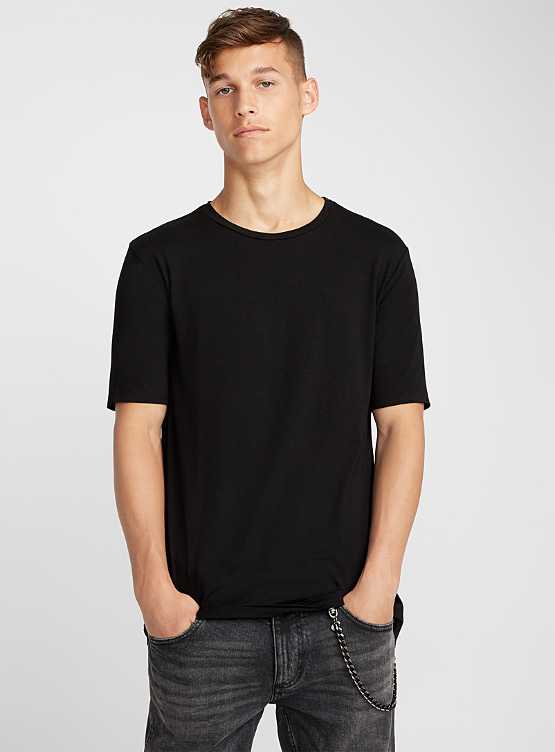 Le 31 Black Longline monochrome T-shirt for men