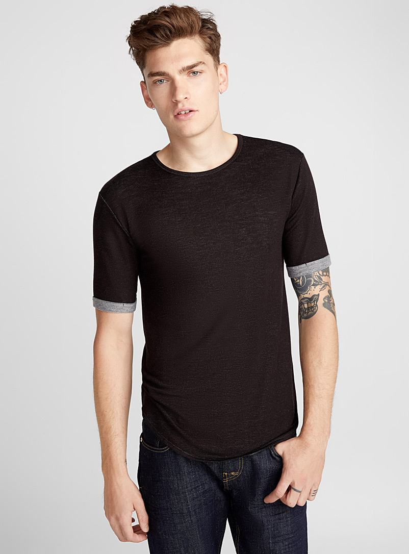 Terry-lined T-shirt - Short sleeves & 3/4 sleeves - Black