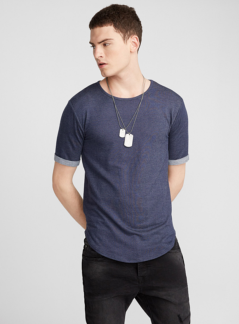 Terry-lined T-shirt - Short sleeves & 3/4 sleeves - Blue