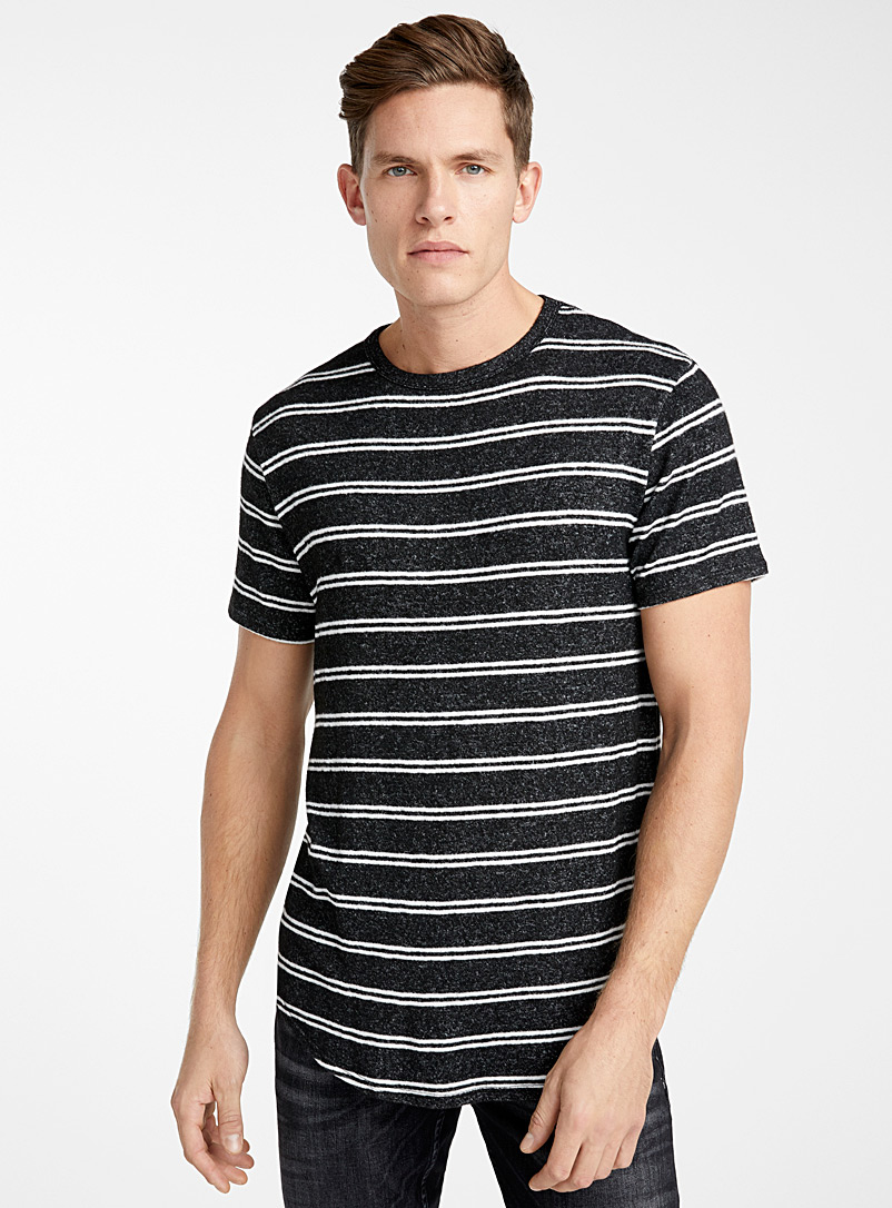 Le 31 Black Stretch knit T-shirt for men