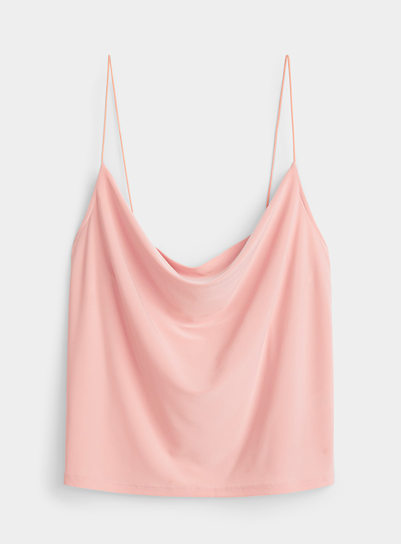 Twik Dusky Pink Cropped draped cami for women