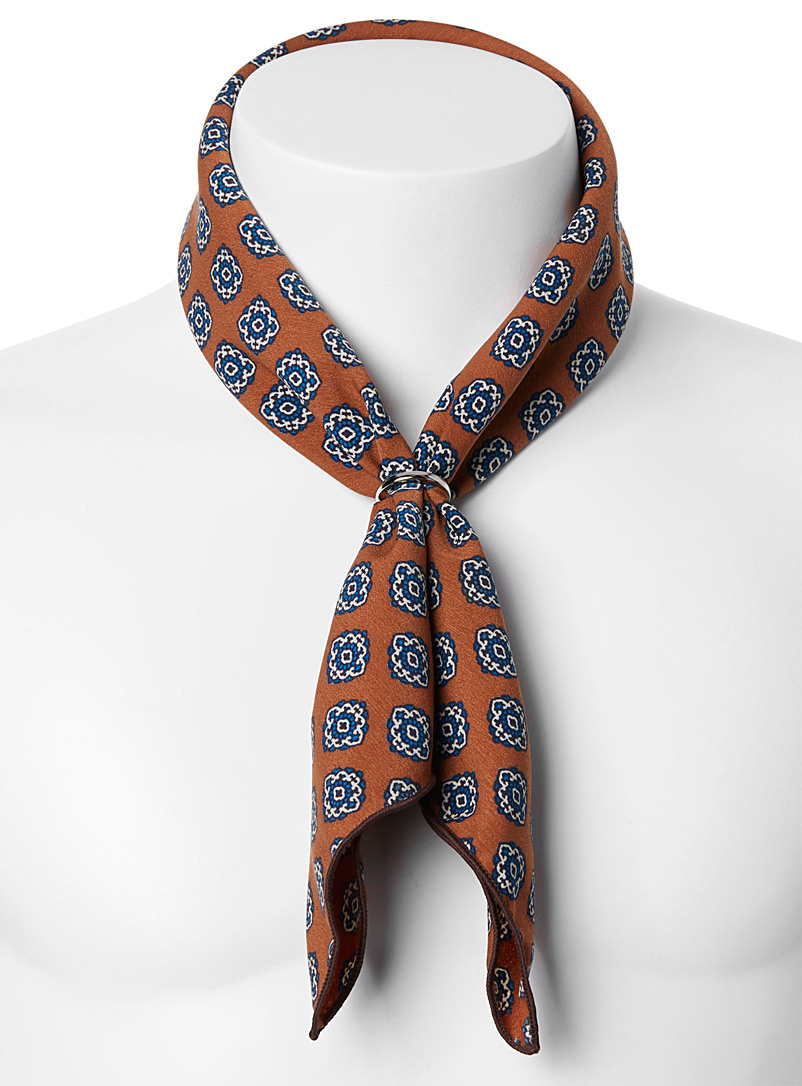 Le 31 Copper Repeat medallion scarf for men