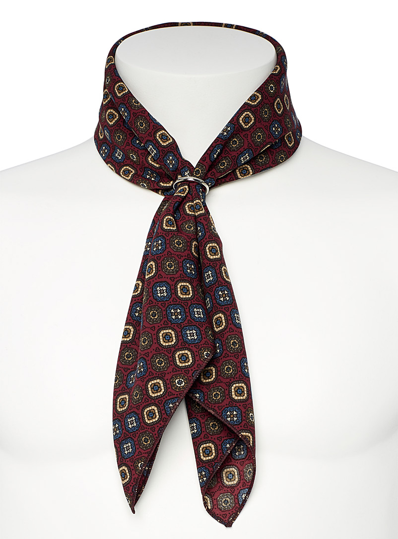 Le 31 Cherry Red Medallion mosaic ring scarf for men