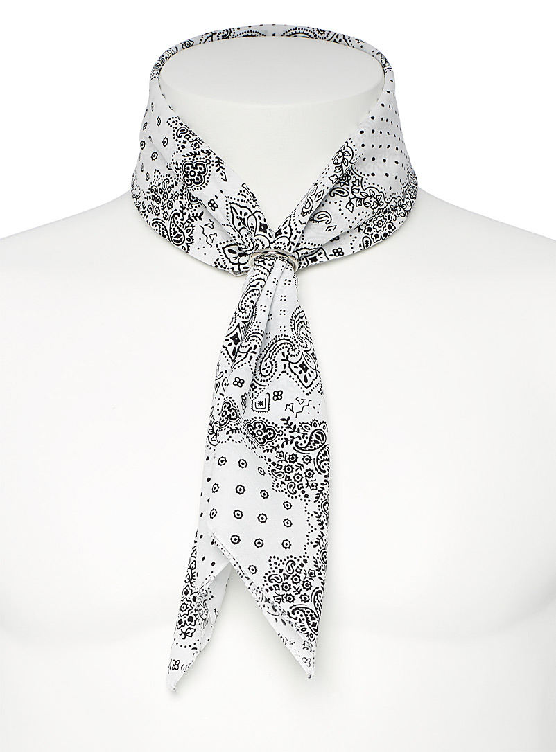 Le 31 White Bandana-pattern scarf for men