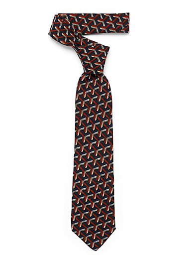 Le 31 Marine Blue Interwoven geometry tie for men