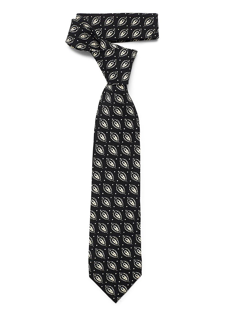 Le 31 Black Dotted foliage tie for men
