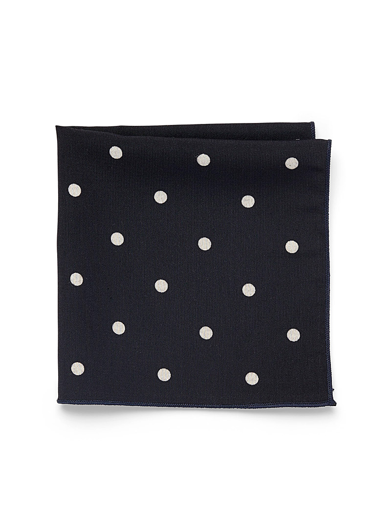 Le 31 Marine Blue Contrast dot pocket square for men