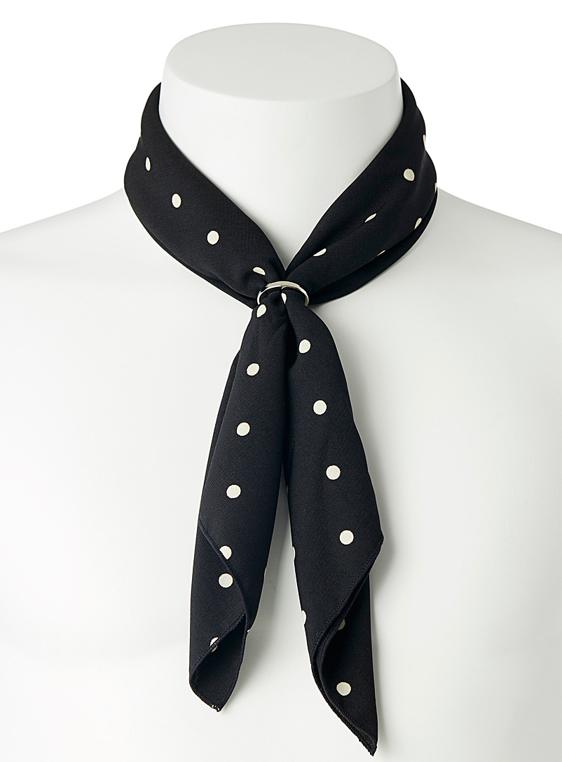 Le 31 Black Dotted ring scarf for men