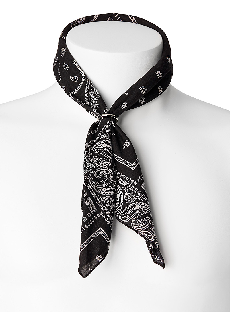Bandana scarf with ring - Pocket Squares & Scarves - Black