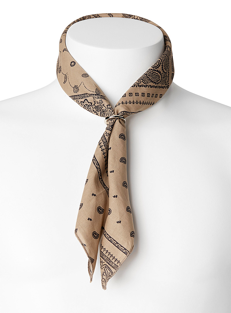 Bandana scarf with ring - Pocket Squares & Scarves - Sand