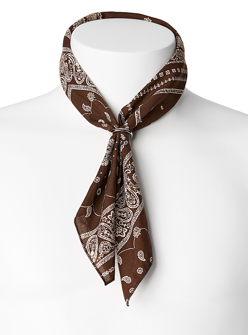Le 31 Brown Bandana scarf with ring for men