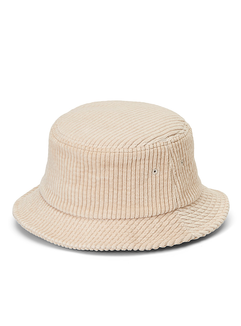 Le 31 Cream Beige Corduroy bucket hat for men