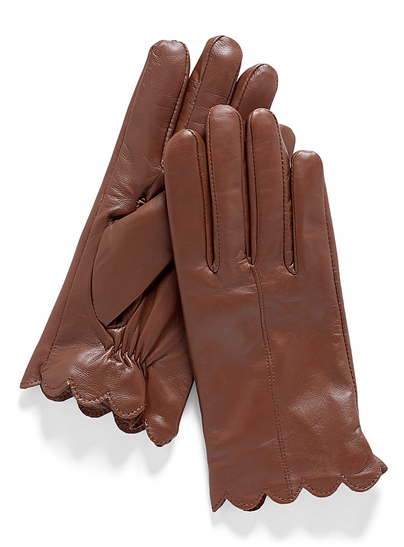 Scalloped leather gloves - Leather & Suede - Honey