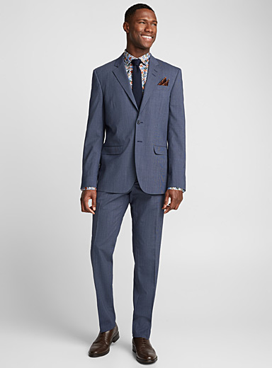 Indigo micro check suit <br>London fit-Semi-slim