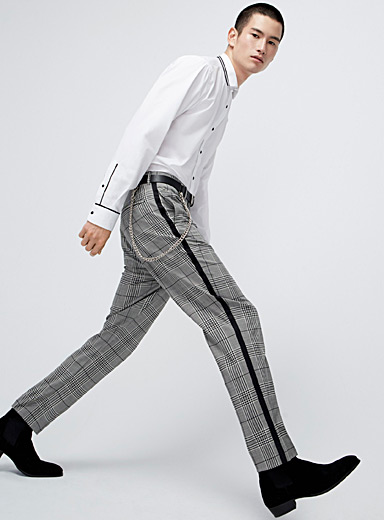 Contrast-stripe Prince of Wales pant  Reykjavik fit-Anti-fit