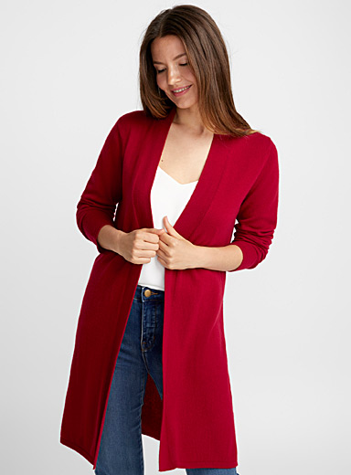 Pure cashmere open cardigan