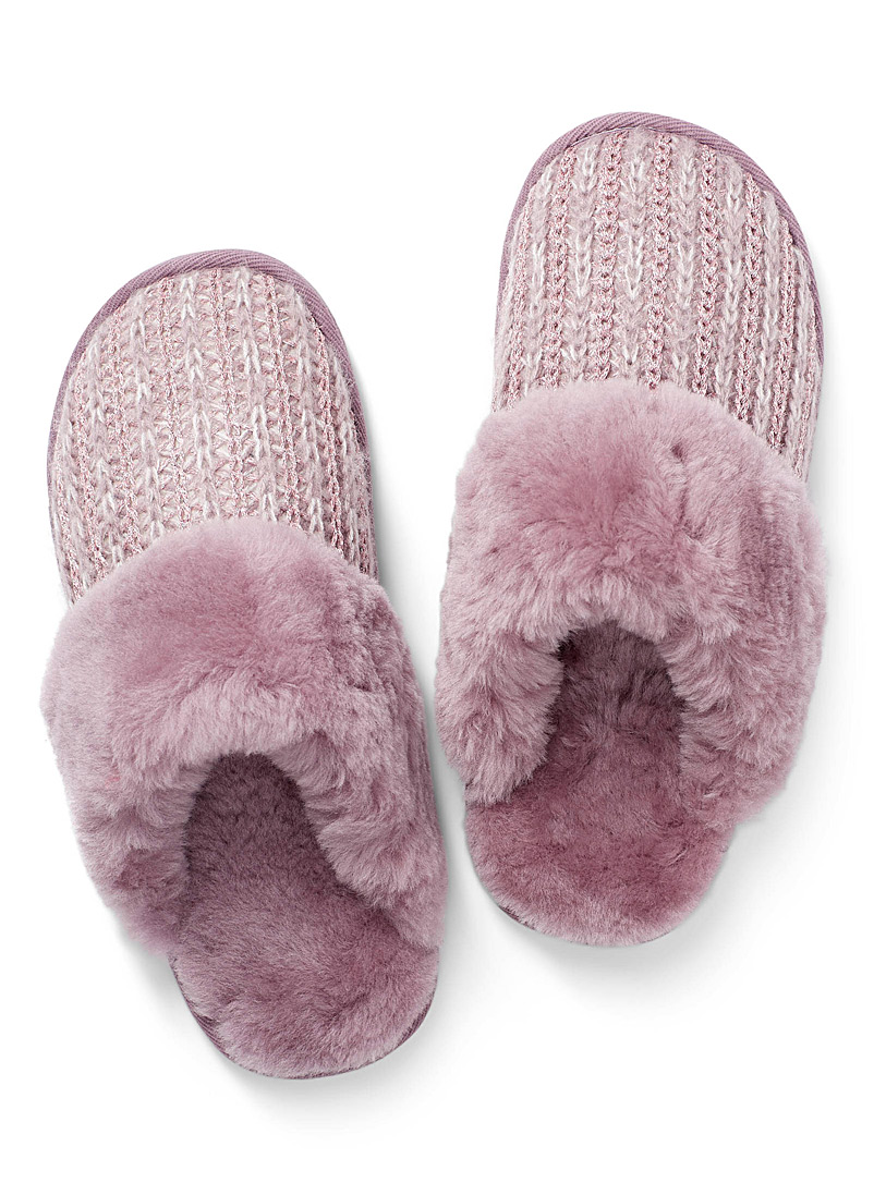 Shimmery accent mule slippers - Slippers - Dusky Pink