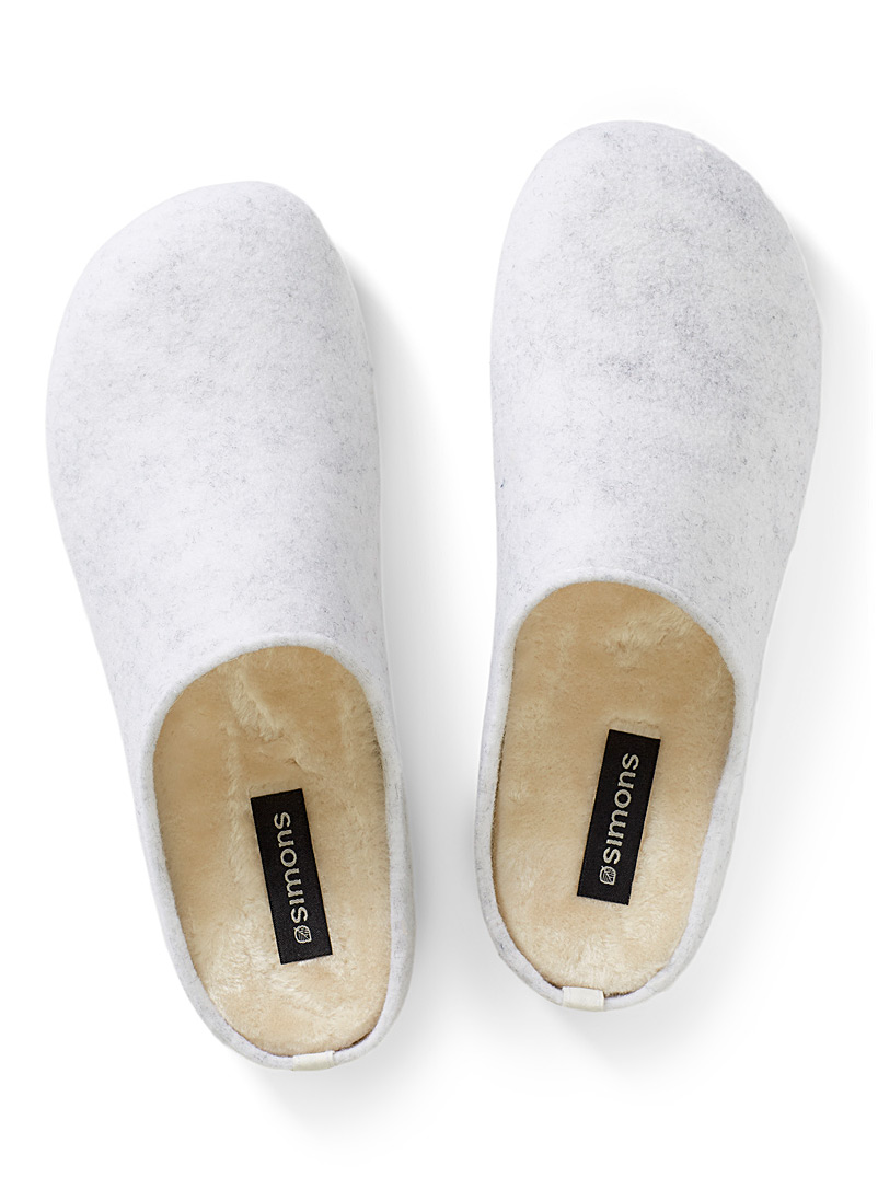Verbenas Light Grey Recycled wool mule slippers for women