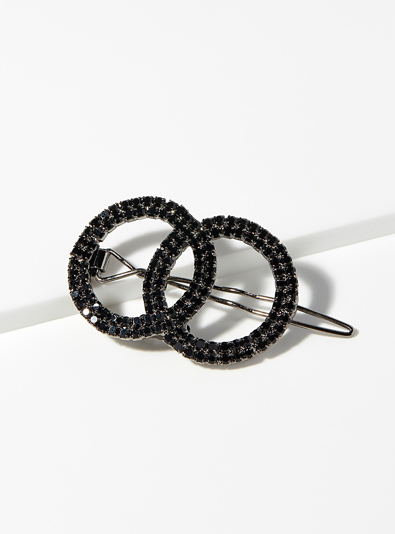 Shimmery ring barrette - Barrettes and Clips - Black