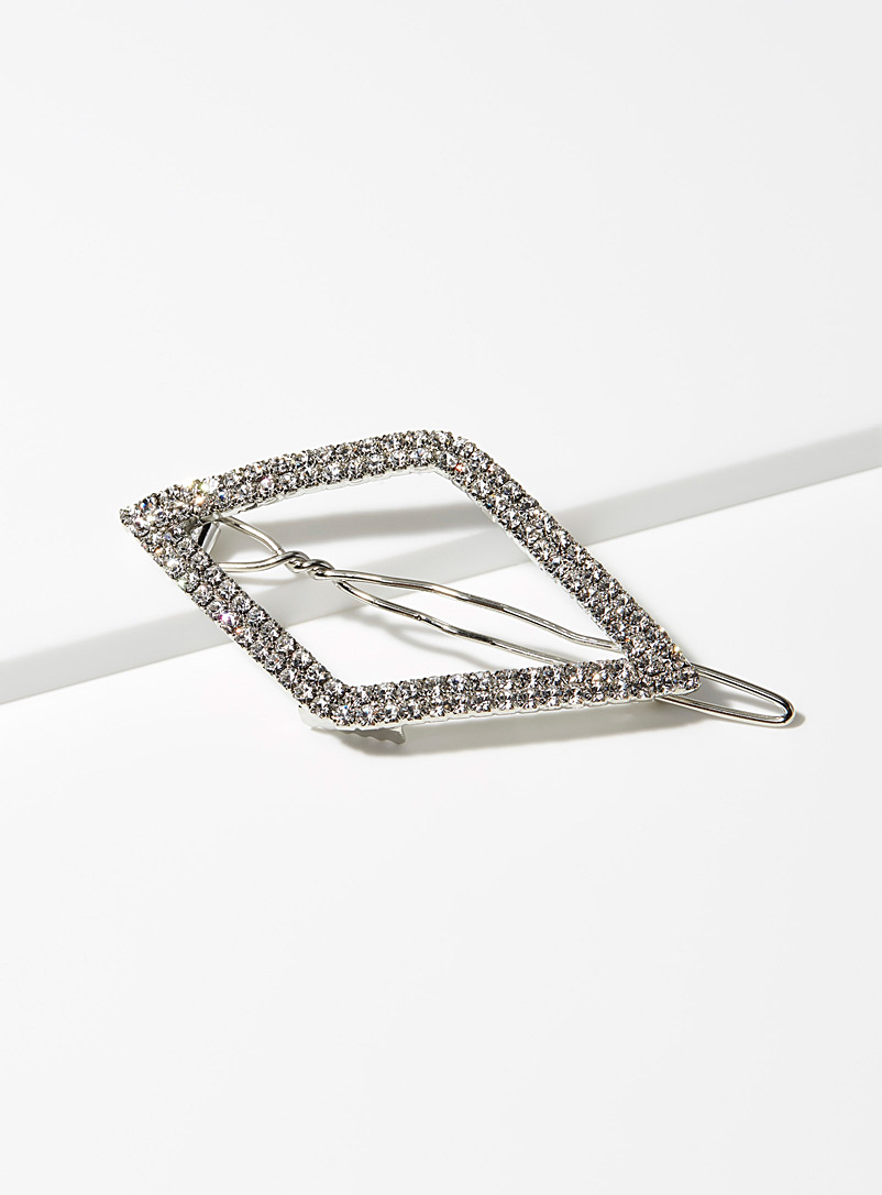 Shimmery diamond clip - Barrettes and Clips - White