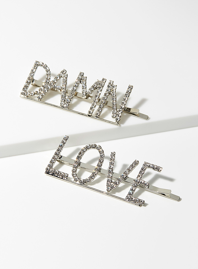 Simons Black Sparkling message hair clips  Set of 2 for women