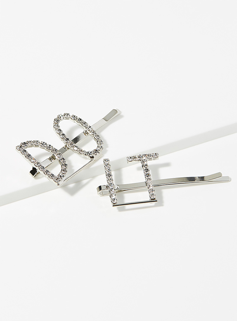 Sparkling message hair clips  Set of 2 - Barrettes and Clips - Charcoal