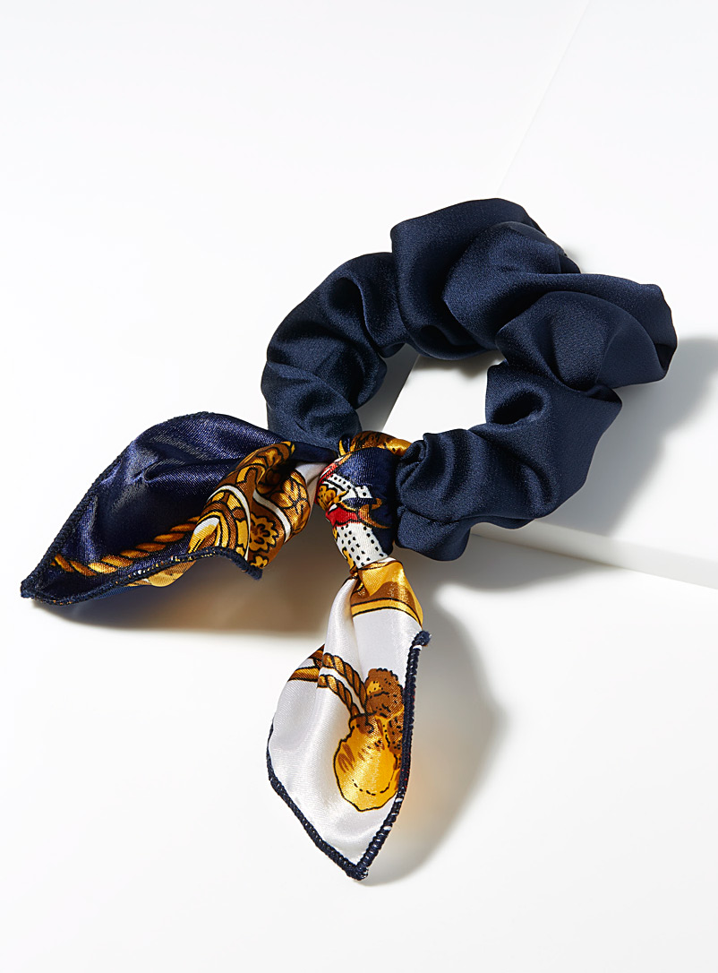 Simons Marine Blue Mini-scarf scrunchie for women