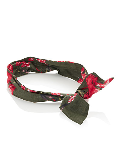 Tropical hibiscus tie headband