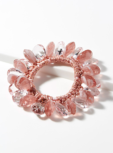 Faceted bead scrunchie