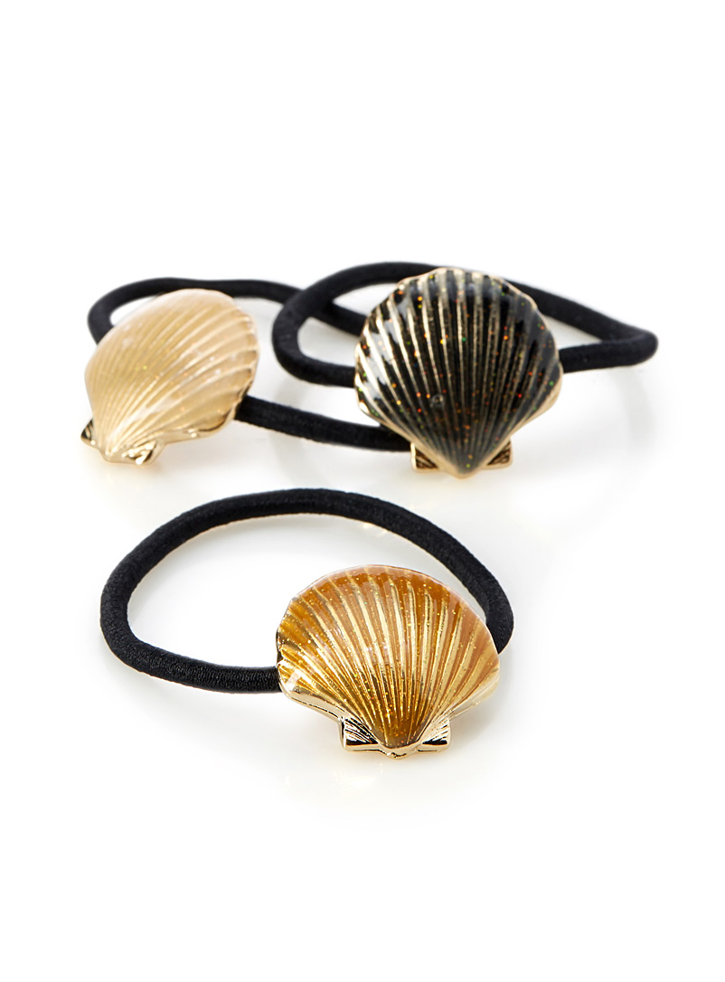 Shell elastics  Set of 3 - Elastics - Patterned Black