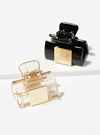 Gold square clips <br>Set of 2