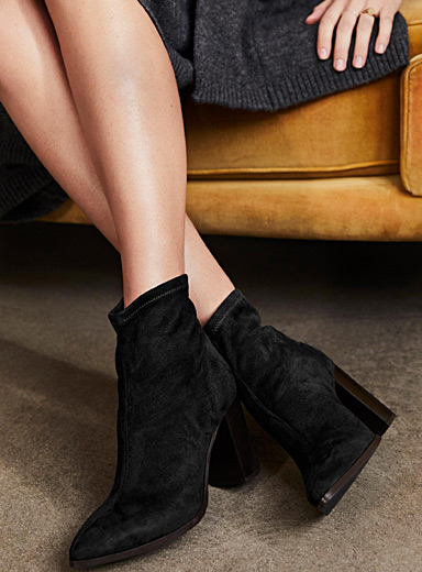 Faux suede high-heel boots