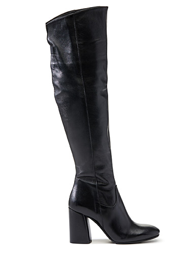 Block-heel thigh-high boots