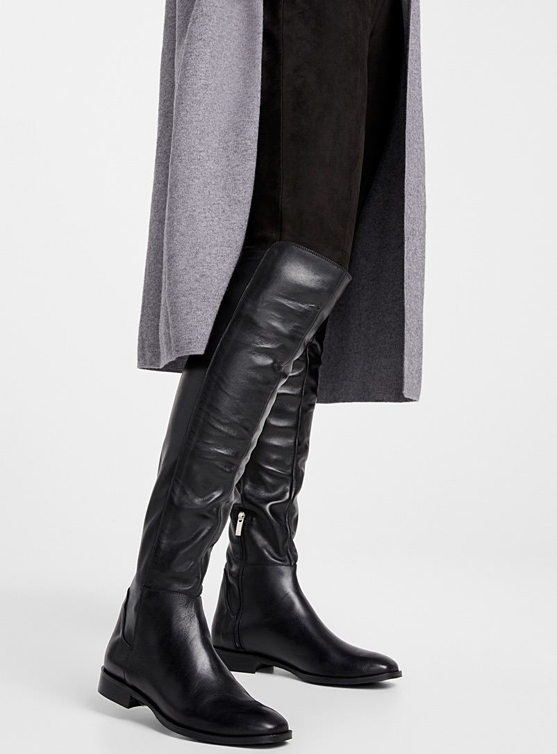 Shiny leather knee-high boots - Flats - Black