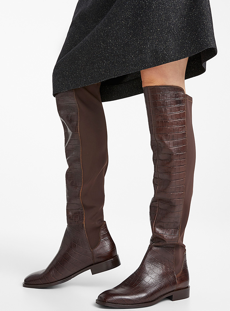 Simons Fawn Croc thigh-high boots for women