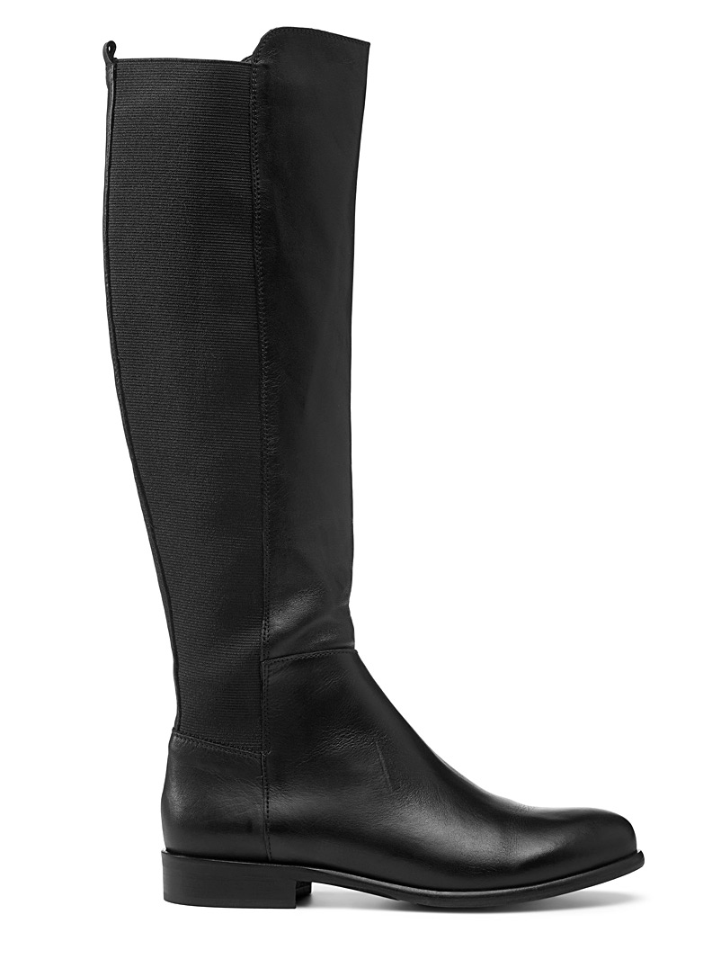 Simons Black Leather block knee-high boots for women